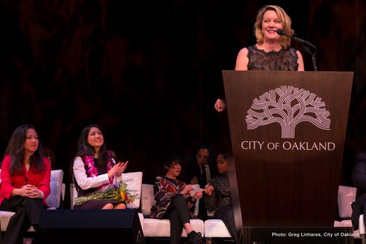 Brenda Roberts standing at podium